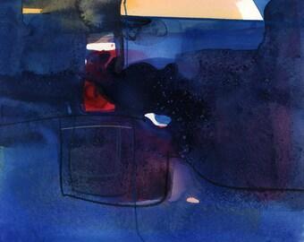 "Blue Abstract painting, Watercolor Spiritual Art, Original ""Meditation 46"" by Kathy Morton Stanion EBSQ"