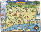 "Map of Connecticut Art Print 8"" x 10"""