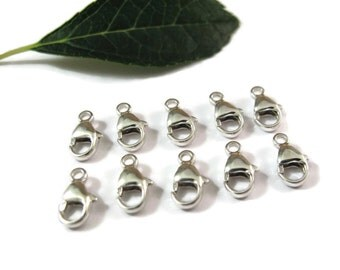 Ten Silver Lobster Claw Clasps, .925 Sterling Silver, Set of 10 Small Silver Clasps, 9mm, Silver Findings, Jewelry Supplies (F 117s)