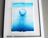 ICEBERG Water color painting by Mike Boston in white frame 9x12