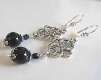 White Celtic Earrings, Black Celtic Earrings