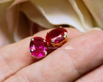 Ruby, 10x8mm Lab-Created Faceted Oval, Gemstone Sew On Setting, Rhinestone Crystal Gemstone Setting, Sew On Setting, Lab Created Ruby