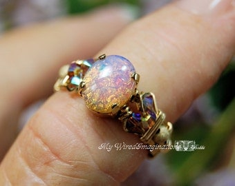 Pink Opal Ring, Dainty Pink Opal, Vintage West German Glass Stone, Handmade Wire Wrapped Ring, Handmade Fine Jewelry, October Birthstone