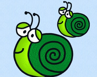 Snail machine embroidery design file in 2 sizes