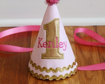 Glitter Party Hat - Girls 1st Birthday - Pink and Gold - Glitter birthday - Personalized