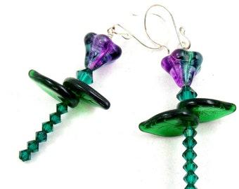 Purple Earrings, Flower Earrings, Crystal Earrings, Dangle Earrings, Floral Earrings, Iris Earrings, Dangle Earrings