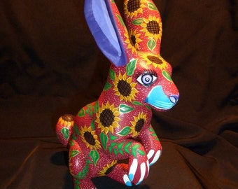 Sunflower Rabbit Oaxacan Woodcarving Alebrijes Folkart from Zeny Fuentes and Reyna