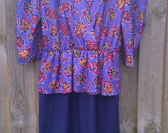 Size 14 80s 1980s Vintage Peplum Dress Black Purple White