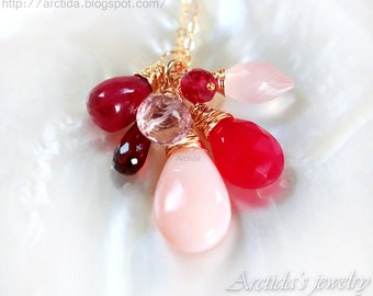 Garnet Pink Opal Red Chalcedony Rose Quartz Ruby necklace 14K gold filled Ruby jewelry Ruby pendant ombre charm necklace gold jewelry - Aine