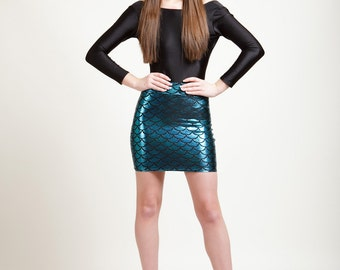 Caribbean Turquoise Mermaid Bodycon Mini-Skirt, Metallic Holographic and Super Sparkly