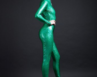Kelly Green On Green Holographic Bodysuit for Great Luck with Money