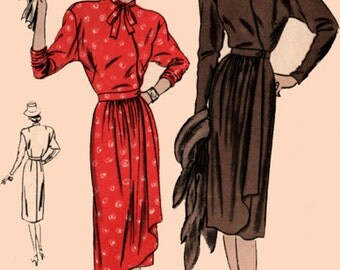 1940s Wrap Dress w/ Dropped Shoulders Vogue 5626 Vintage 40s Swing Era Womens Sewing Pattern Size 18 Bust 36
