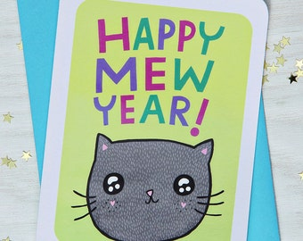 New Years Card - Happy Mew Year - Notecard