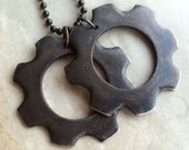 Cog Tags - White Bronze - GOW - Gears of War - Industrial Chic - Mens - Unisex - Gamer Gear - Handmade - Black - Rugged - Giant Cog Tags