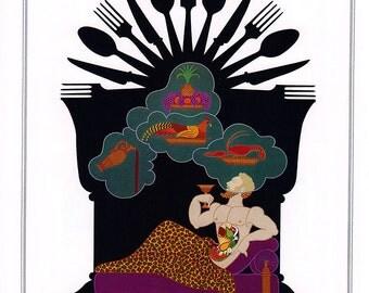 Vintage Erte Print Seven Deadly Sins - Gluttony & Lust - Color Plate Illustration