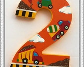 Custom Painted Decorative Wooden Number featuring a Construction Theme