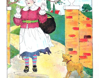 The Old Woman and The Pedlar - Mother Goose Print - 1989 Vintage Book Page - 9 x 11