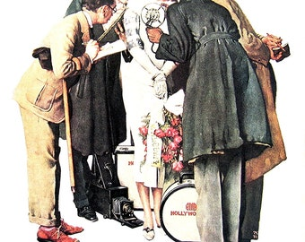 The Interview - Large Norman Rockwell Poster Sized Print - 1977 Vintage Book Page - 15 x 12