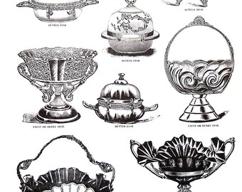 Butter Dish, Fruit Dish, Berry Dish - Silver Plated Hollow Ware - 1968 Vintage Book Print - Victorian Americana Black and White 2 Sided Page
