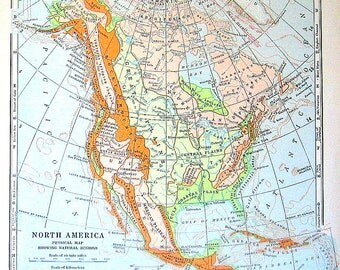 1920 Physical Map of North America - Showing Natural Regions - Vintage World Geography Book World Atlas - 11 x 9