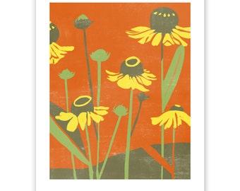 ART308: Asteraceae Block Print Art Reproduction