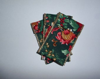 Jewelry Bead Pouches - 9 Christmas Floral - Ribbon