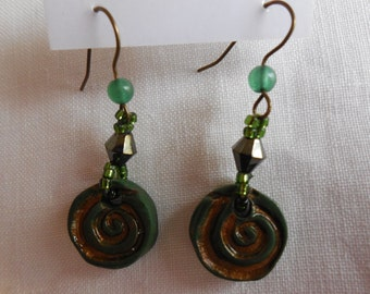 Green Envy Swirl Polymer Clay Dangle Earrings
