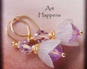 "Pretty Purple Pink Dewdrop Flowers Flower Buds with Vintage Components and Swarovski Crystals, ""Petal-iferous"""