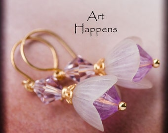 """Pretty Purple Pink Dewdrop Flowers Flower Buds with Vintage Components and Swarovski Crystals, """"Petal-iferous"""""""