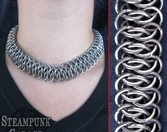 Necklace Choker - Viperscale Chainmaille with soft square wire rings