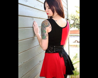 Harley Quinn Cotton Lace-Waist Mini Dress cosplay Red Black plus size tank top stretch skirt XS S M L XL 2XL metal grommet corset lacing