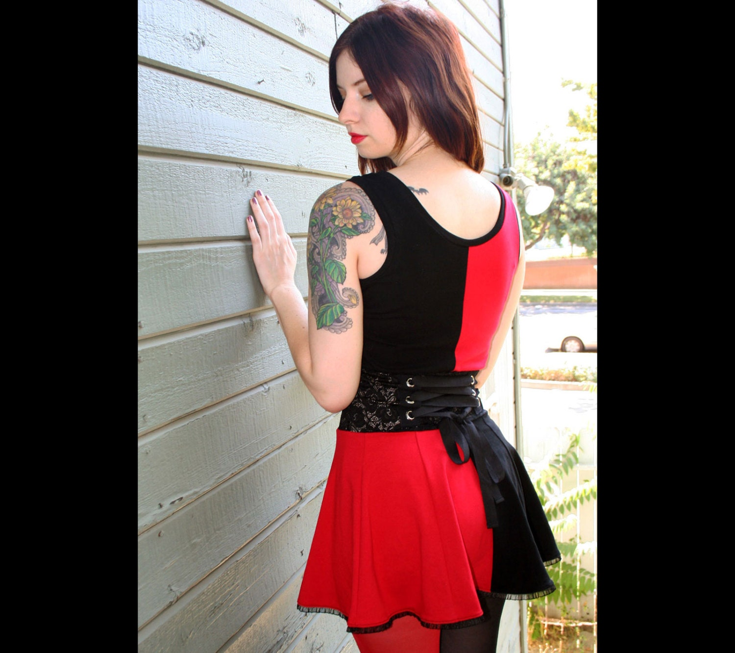 harley quinn cotton lace-waist mini dress cosplay red black