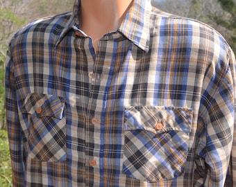vintage 70s plaid shirt WESTERN button down campus rugged hipster XL brown blue