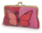 Pink butterfly clutch bag, silk purse, wedding bag, bridesmaid gift, ON SALE