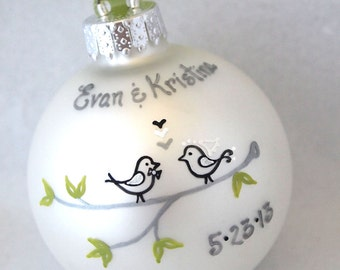 Love Birds - Custom Personalized Wedding Ornament - White