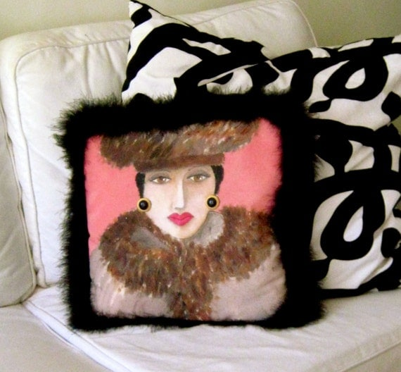 "Reserved for French Attitude  MAISE SOFA PILLOW, hand painted, black boa, earrings, 13""  X  13"", sofa sized, novelty pillow, art deco,"
