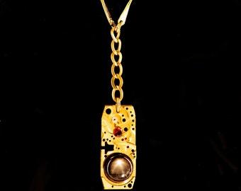 Aegis Mech Black Star Sapphire Garnet Steampunk Dieselpunk Choker Necklace