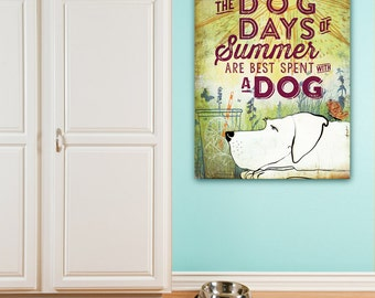Dog Days of Summer dog art illustration graphic art on gallery wrapped canvas by stephen fowler