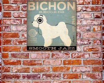 Bichon Frise dog Records album inspired graphic illustration on canvas panel