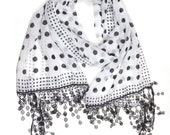 White Black. Lace Scarf. Dotted Scarf. Long Scarf. Cotton Scarf