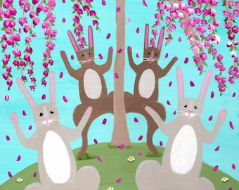 Celebration of Spring Rabbits Original Folk Art Painting