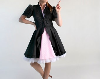 Vintage French Maid Lolita Patio Dress - Black and Pink Square Dance Dress - Medium