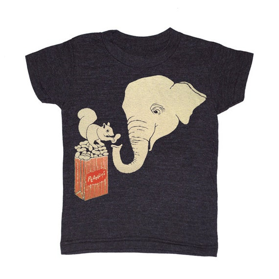 KIDS Elephant & Squirrel - T-shirt Boy Girl Children Toddler Youth Peanut Tee Shirt Friends Circus Carnival Love Zoo Animal Tri Black Tshirt
