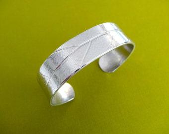 Pressed Leaf Imprint Bracelet - Unique Jewelry - No Text - 5/8 inch thick cuff bracelet