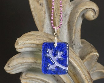 Branch Indigo Carved Dichroic Glass Pendant - FREE SHIPPING!