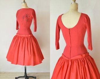 SALE /// 50s Red Party Dress --- Vintage Drop Waist Dress