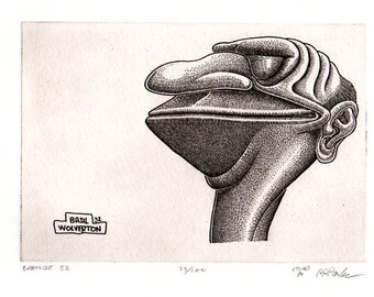 """BASIL WOLVERTON """"BARFLIZE"""" # 32 ~ Genuine Hand Crafted / Pulled Limited Edition Fine Art Print Etching Signed and Numbered."""
