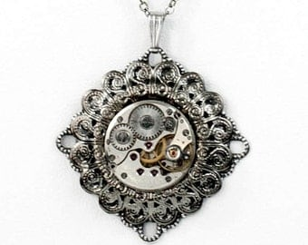 Steampunk Layered Necklace with Antiqued Silver Filigree and Vintage Watch Movement by Velvet Mechanism