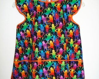 Child's Smock Apron for Cooking or Art Fun Monkey Print