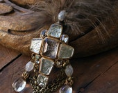 Rutilated quartz cross brooch with feathers (BR-316)